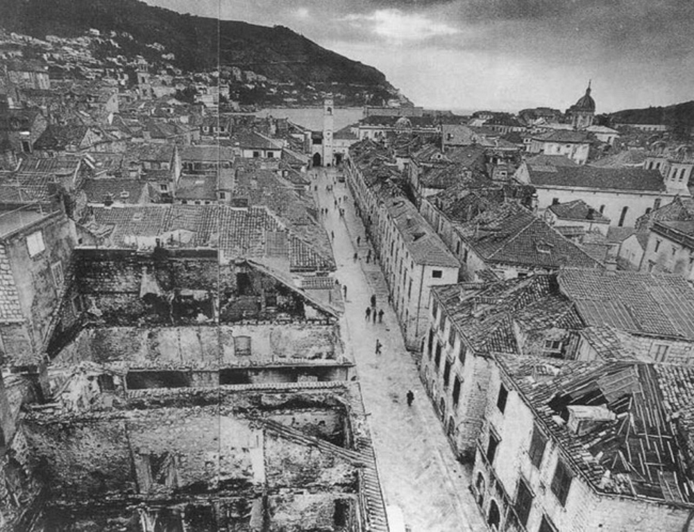 Dubrovnik after bombing in fall, 1991 (Photo: Romano Cagnoni, courtesy Newsweek)