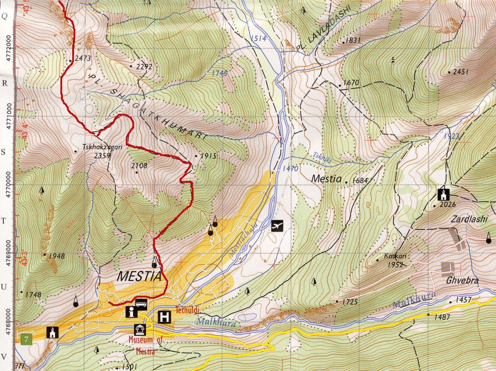 A GeoLand 9-es számú 1:50 ezres Trekking Maps-jén bejelölve a Koruldi tavakhoz tett túra