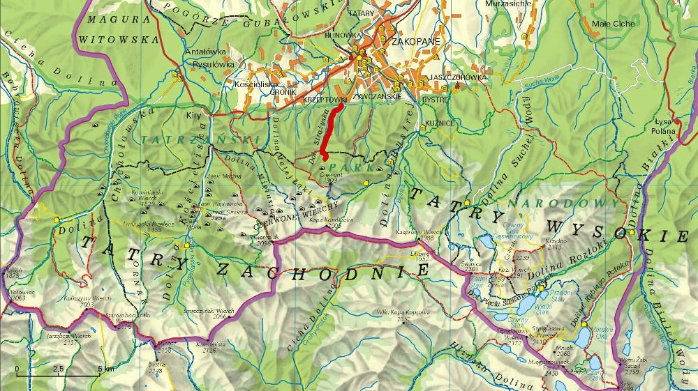A Dolina Strążyska helyzete pirossal a Lengyel-Tátrában