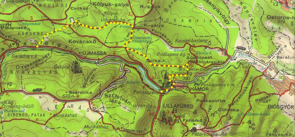 Túraútvonalunk egy 1960-as évekbeli térképen, sárga pöttyekkel