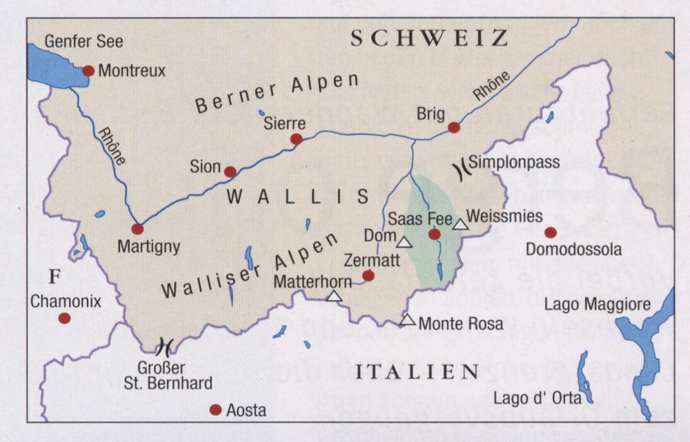 A Saas-völgy elhelyezkedése