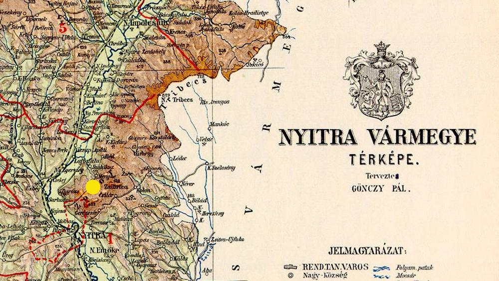 A csitári hegyek helye egy régi Nyitra vármegyei térképen