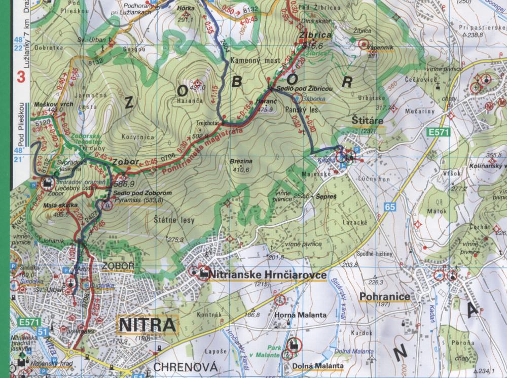 Csitár a VKÚ 137-es számú Tribeč – Pohronsky Inovec turistatérképén