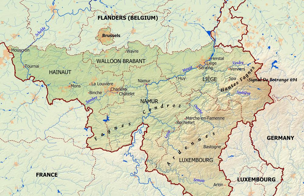 A Botrange helyzete Vallóniában