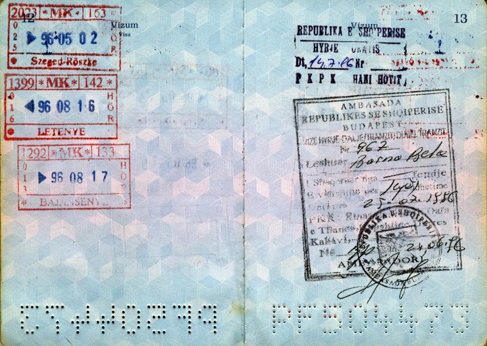 Albán vízumom 1996-ból
