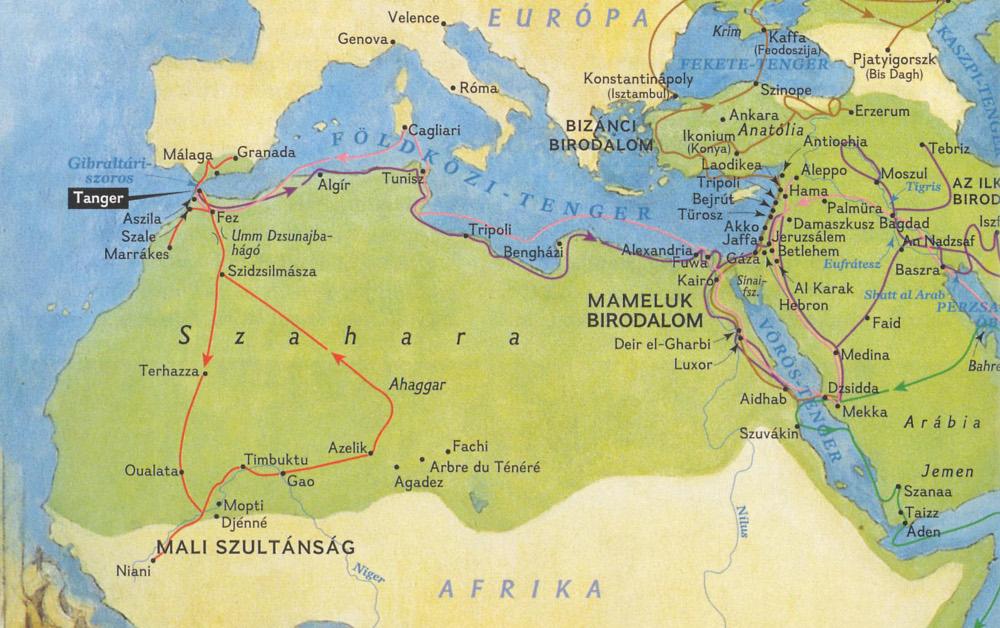 Ibn Battuta utazásainak térképrészlete - Forrás: NG MAPS - Burt Silvermann