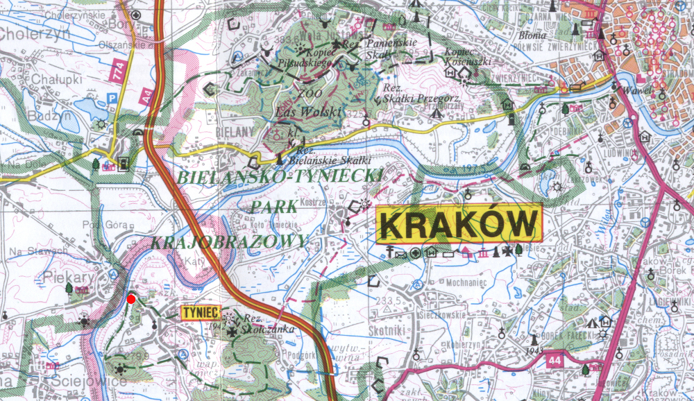 Tyniec helyzete Krakkóhoz viszonyítva