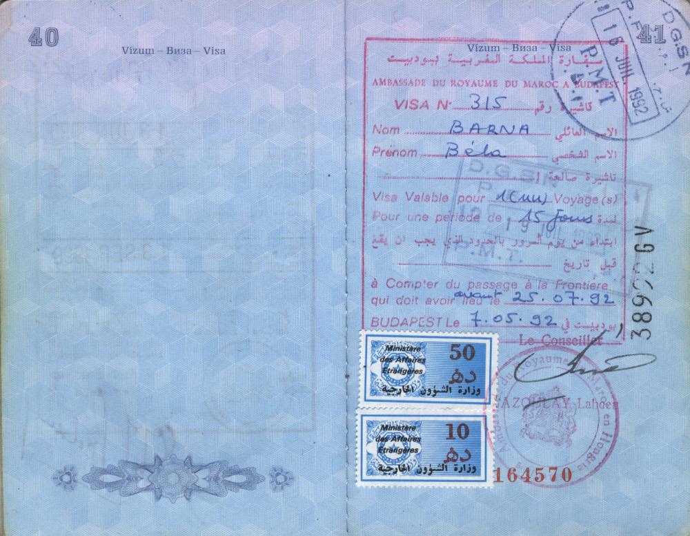 Marokkói vízumom 1992-ben - Fotó: Barna Béla