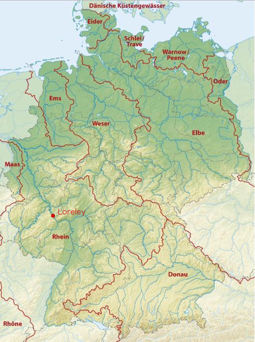 A Loreley helyzete Németországon belül, illetve a Rajna vízgyűjtőjén