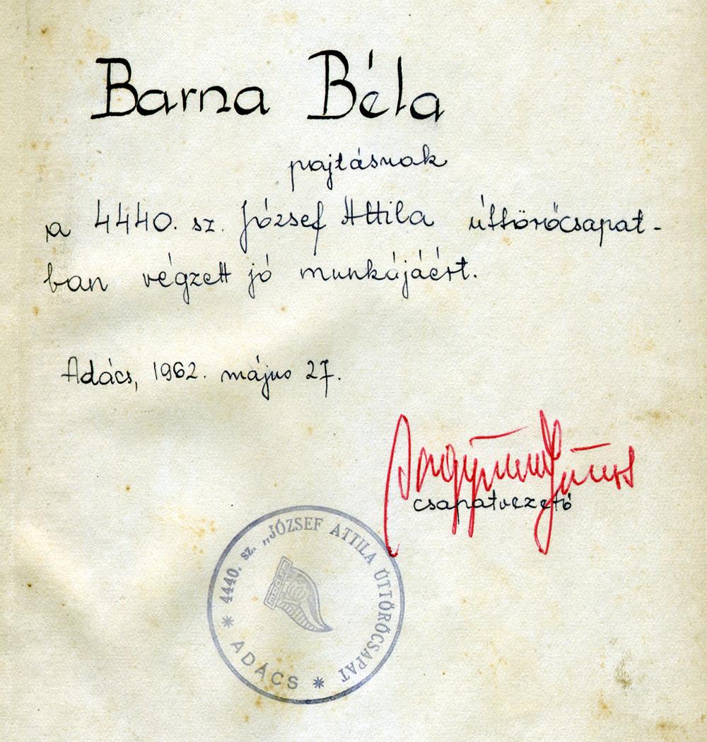 Egy jutalomkönyv beírás 1962-ből.