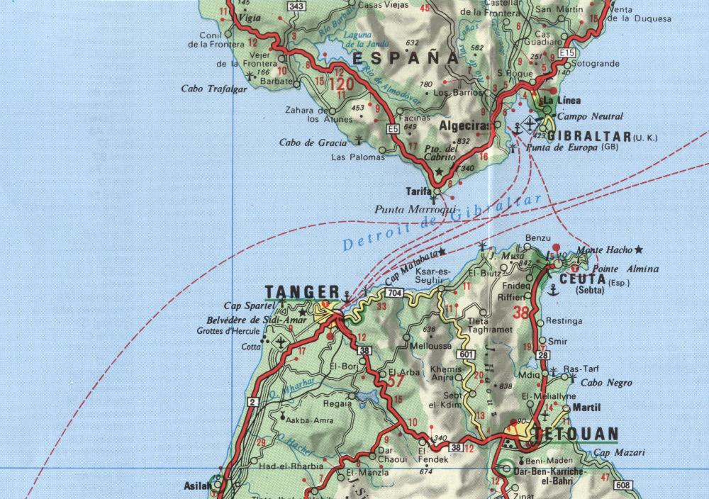 Tanger helyzete a Gibraltári-szorosban