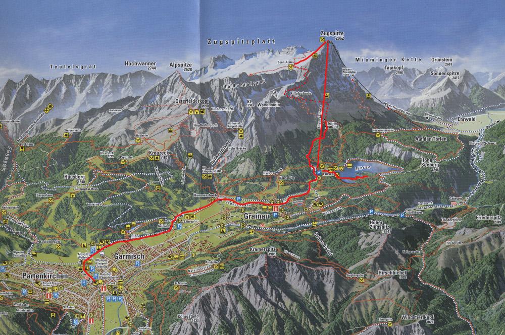 Panorámatérkép a Zugspitze tömbjéről