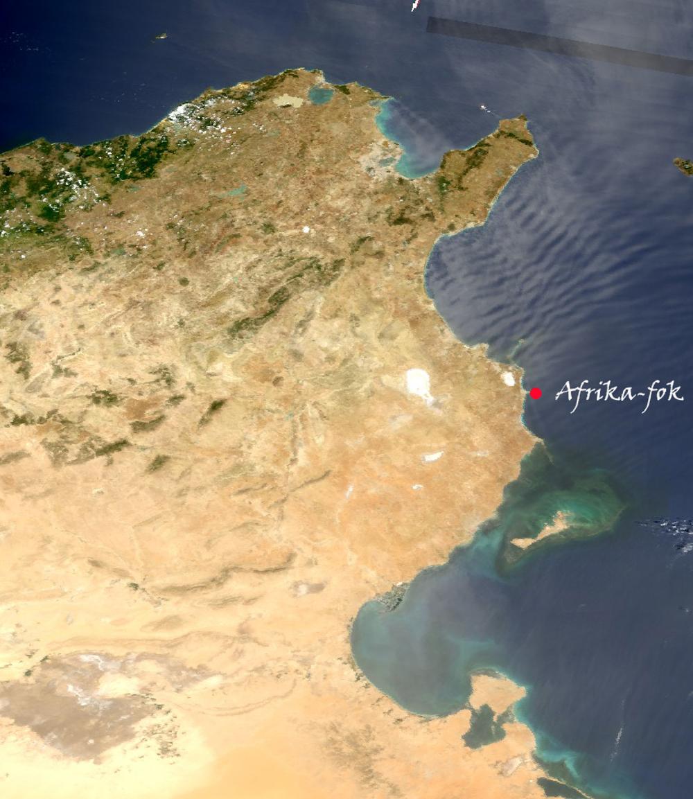 Az Aftórika-fok helyzete Tunézia műholdképén