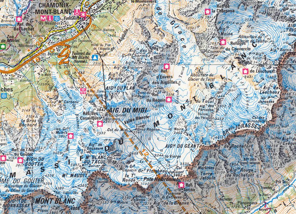 Térképrészlet, Aiguille du Midi