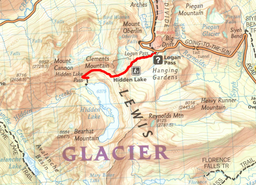 A 215-ös számú Glacier – Waterton Lakes National Parks térkép a NG kiadása