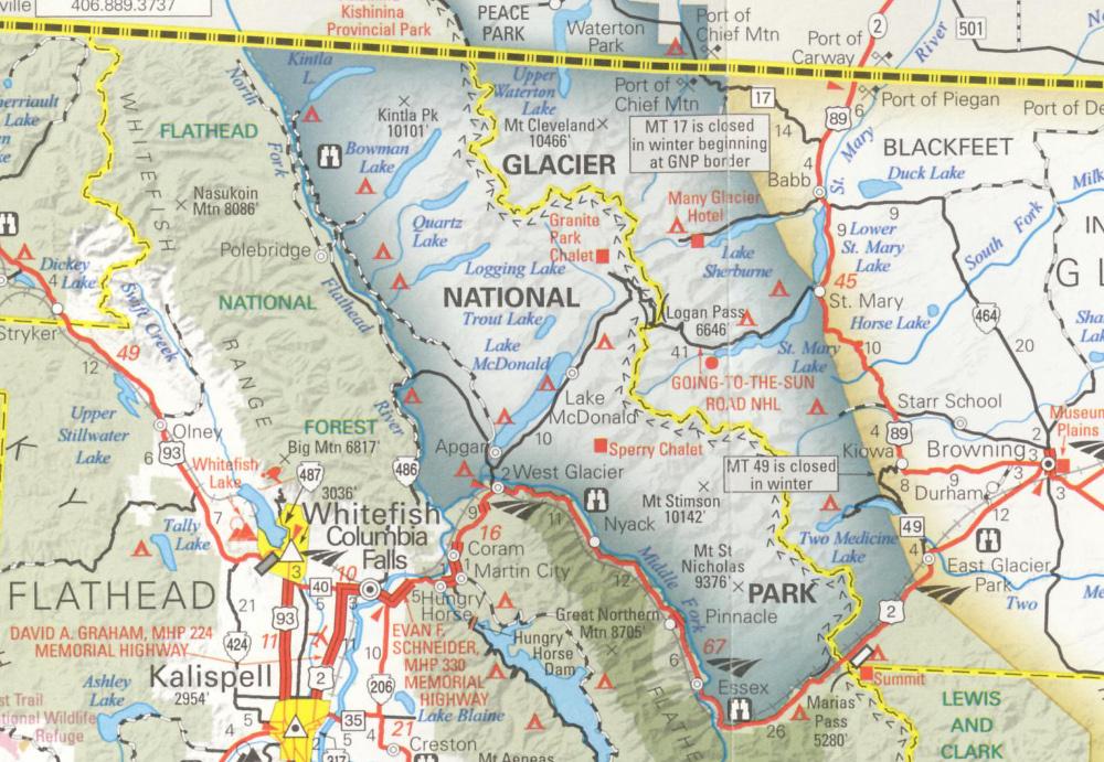 A Glacier Nemzeti Park Montana térképén