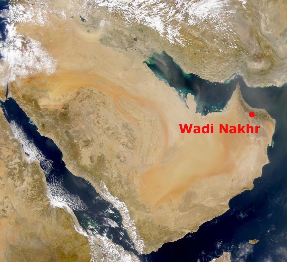 A Wadi Nakhr az Arab-félsziget műholdképén