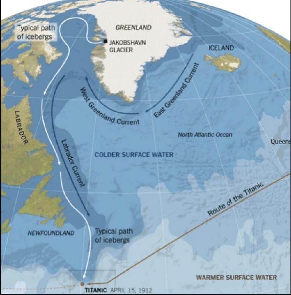 A jéghegy útja Grönlandtól a Titanicig