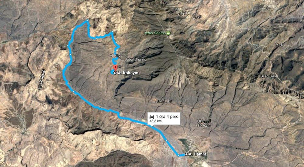 Al Hamrától 43 kilométer a túra kiindulópontja