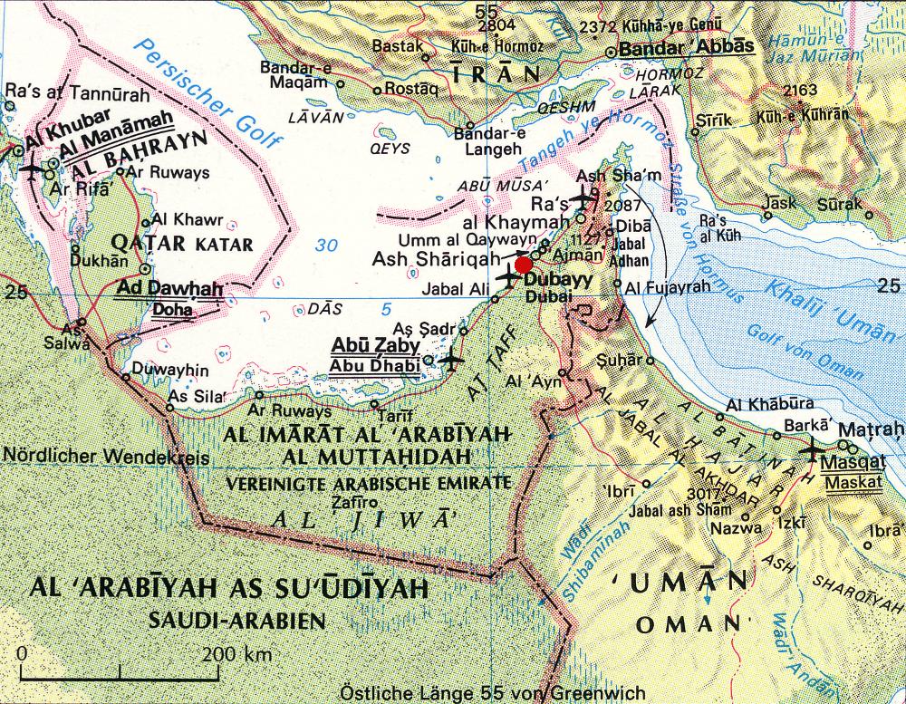 Dubai az Emírségek térképén pirossal jelölve