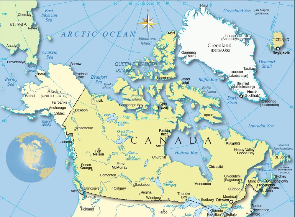 Grönland helyzete Észak-Amerikában