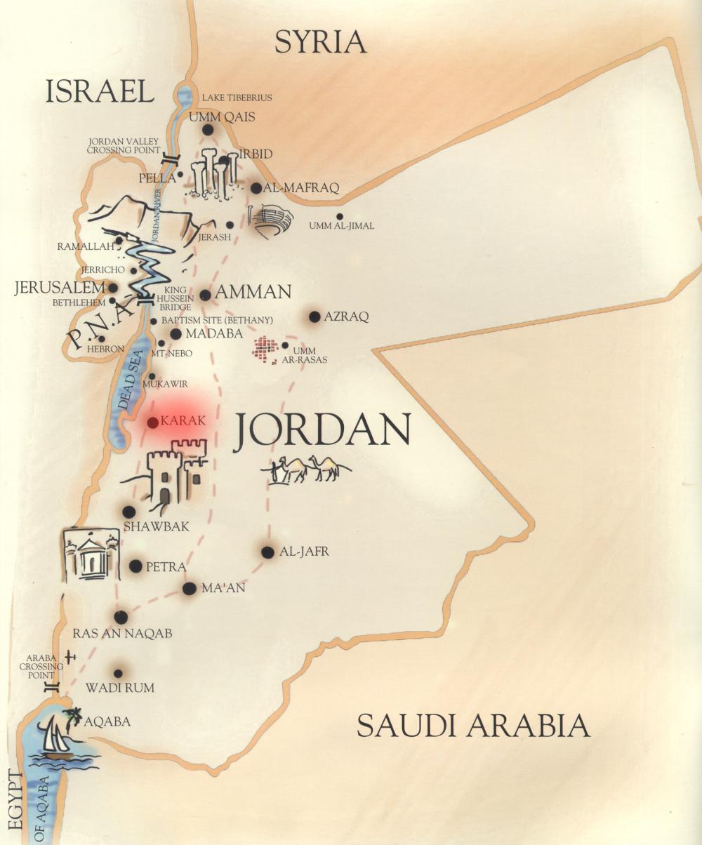 Karak elhelyezkedése Jordánia térképén
