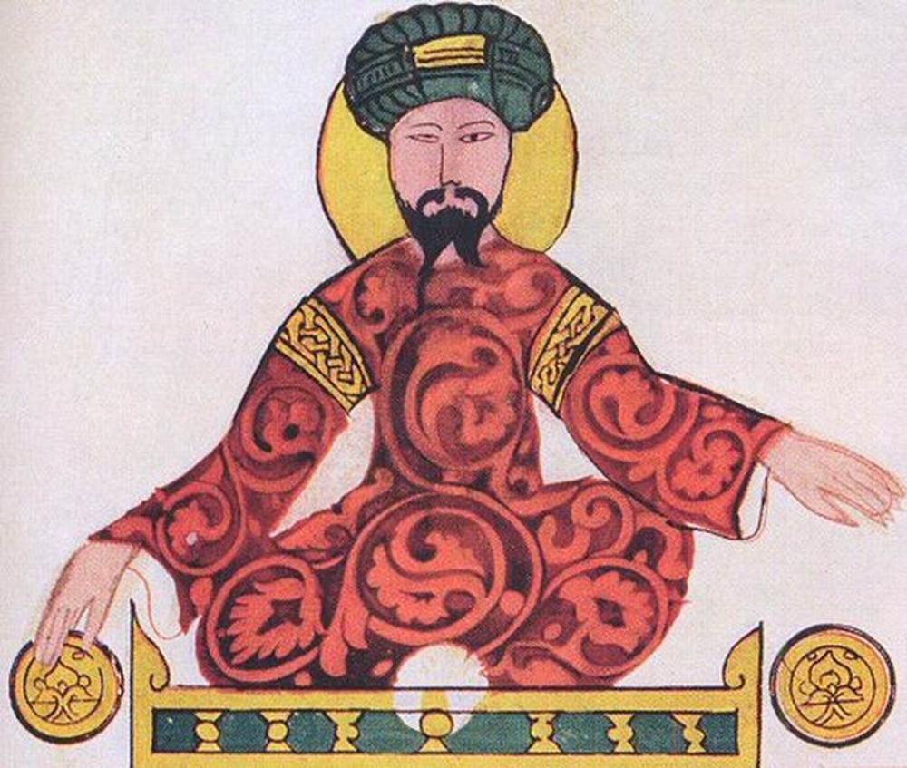 Szaladin szultán. Iszmáil al-Jazari 1185-ös miniatúrája