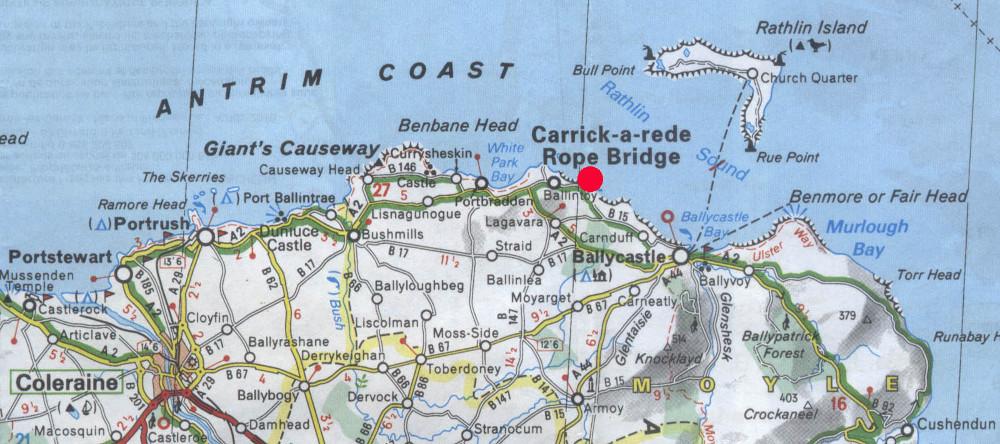 Carrick-a-Rede piros ponttal jelölve