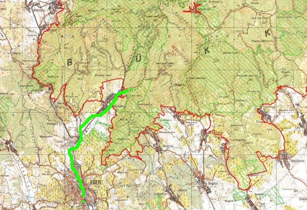 Az útvonal halványzöldel bejelölve
