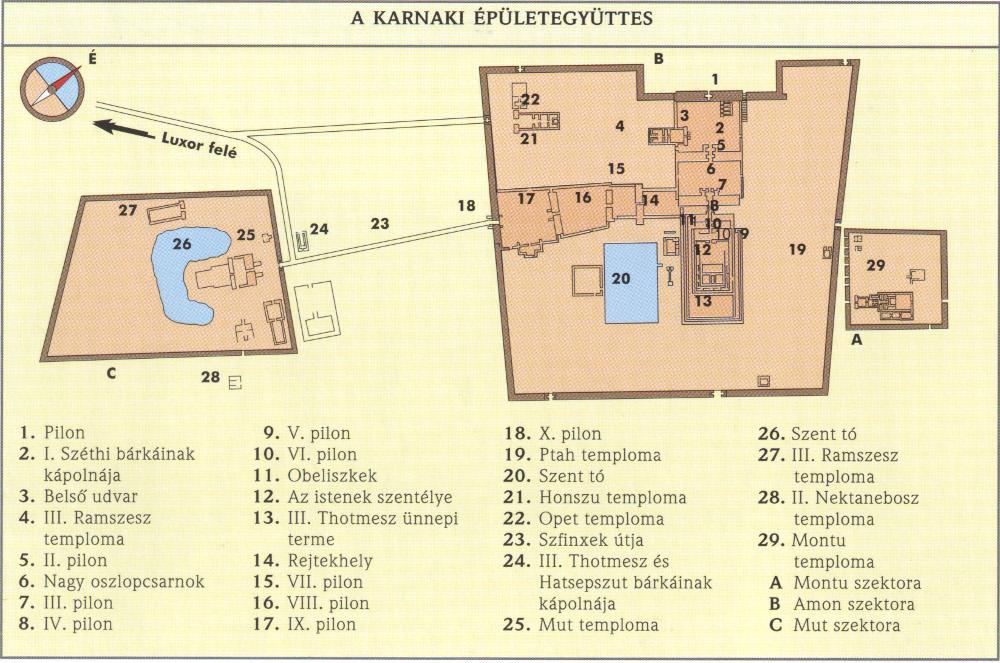 Karnak térképe - Forrás: Az Ókori Egyiptom atlasza