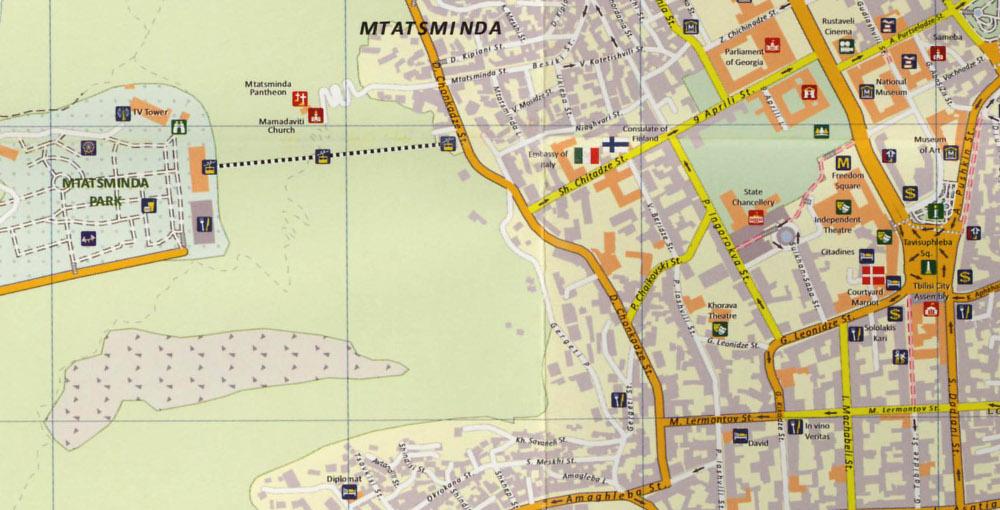 A Mtatsminda Tbiliszi térképén