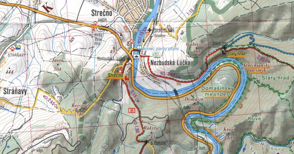 A SHOCart térképén Sztrecsény környéke (1: 50000)